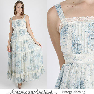Vintage 70s Boho Hippie Dress Wedding Prairie Party Ivory Blue Floral Lace Maxi