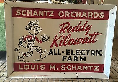 Vintage Double Sided Metal Reddy Kilowatt Advertising Sign Retro Atomic Man Cave