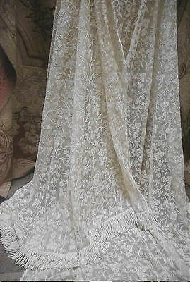 2 Antique Victorian French Tambour Lace Curtains,Vanilla All Over Embroidery Pr