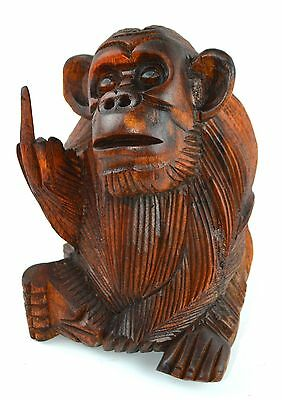 Wood Finger Monkey Rude Flipping Bird Social Middle Finger Jungle Beast Ape