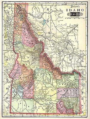 1906 Antique IDAHO Map Vintage State Map of Idaho Gallery Wall Art 3789