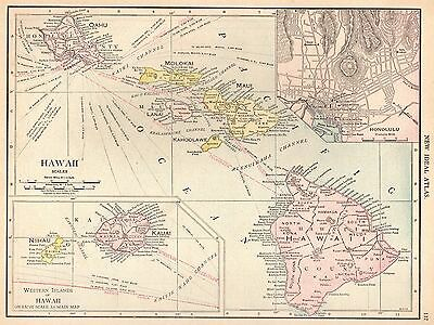 1913 Antique HAWAII Map Gallery Wall Art Hawaiiana Hawaiian Islands Map #3790