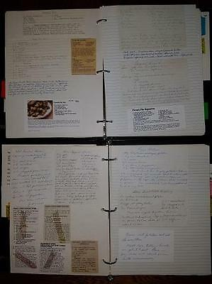 Vintage Handwritten Typed And Clipped Recipe Collection In 2 Notebooks