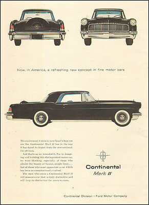 1955 vintage AD CONTINENTAL Mark II  Black Classy! Ford Lincoln 062516