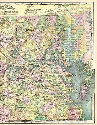 1899 Antique VIRGINIA Map of WEST VIRGINIA Map Gallery Wall Art 3793