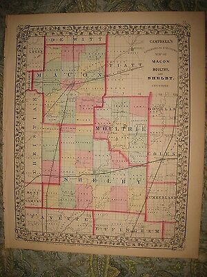 Antique 1870 Macon Moultrie Shelby County Illinois Handcolored Map Railroad Rare
