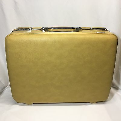 Vintage American Tourister Hard Shell Suitcase Yellow Combination Lock Luggage
