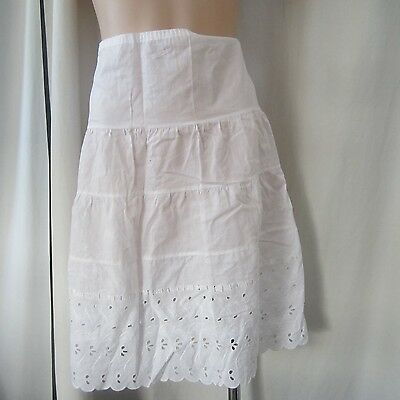 Vintage 1950S White Cotton Half Slip Petticoat Broidery Anglaise Lace Rockabilly