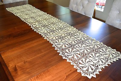 Vintage Long Hand Crochet Lace Runner Buttercreme Yellow Ivory 14 By 56 Inches