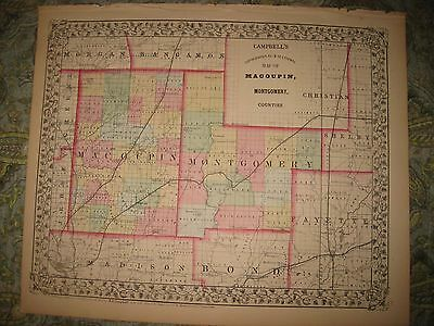 Superb Antique 1870 Macoupin Montgomery County Illinois Handcolored Map Railroad