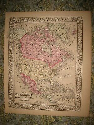 Fine Antique 1870 North America Mitchell Map United States Texas Canada Mexico N