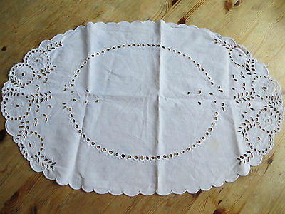 Antique  Oval Table Runner Topper Doily Handm Eyelet Embroidery  * * Donate **
