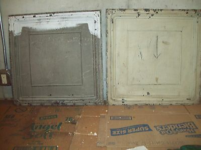"2   24"" x 24"" Antique Tin Ceiling Tiles - Grey/Light Olive"