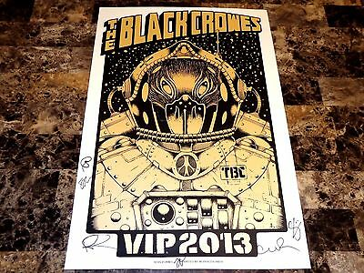The Black Crowes Rare Band Signed VIP Last Tour 2013 Poster Chris Rich Robinson