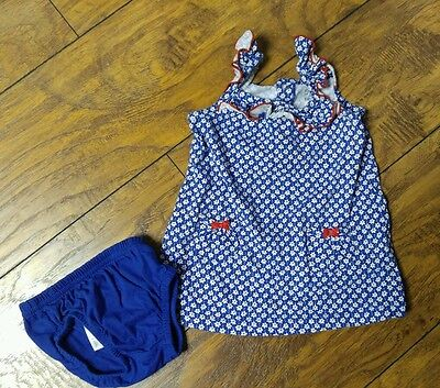 Infant Girls 2-piece Blue & White Floral Dress Set by Carter's Size 3-6 Months
