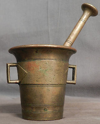 Antique Brass Mortar Pestle Apothecary Druggist Kitchen Early Skultuna SMALL