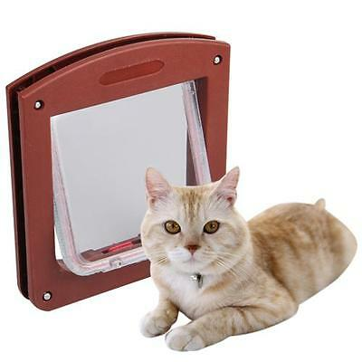 Safe 4 Way Lockable Locking Dog Cat Puppy Pet Flap Screen Door Brushy Frame M