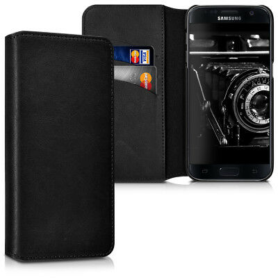 Genuine Leather Flip Folio Wallet Case for Samsung Galaxy S7