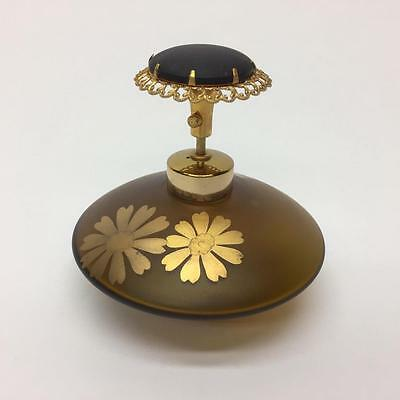 DeVilbiss Brown Glass Gold Flowers Atomizer Perfume Bottle 1000-88 West Germany
