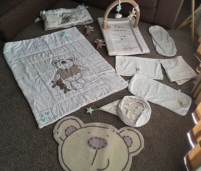 Babies R Us I Love My Bear Baby Nursery - Light, Cotbed Bedding, Changing Mat