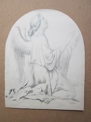 FINE ANTIQUE SIGNED DRAWING OF ANGEL c.1860