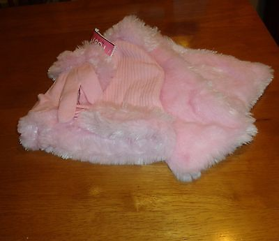 Toby Kids  Pink  Faux Fur  Scarf& Trimmed Hat  And Gloves Set Nwt Sz 4-16