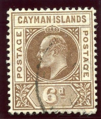 Cayman Islands 1905 KEVII 6d brown very fine used. SG 11. Sc 11.