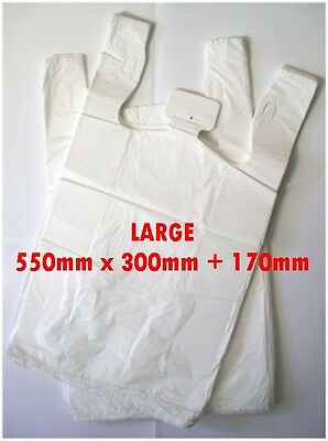 100 LARGE Plastic bags/ Shopping carry bags, Approximately 550mm x 300mm + 170mm