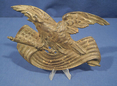 Vintage Antique American Bald Eagle over Flag Cast Iron Plaque Very Old Rare