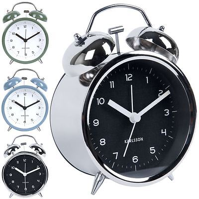 Karlsson Alarm Clock Classic Bell Style by Box32 Silent Movement Retro