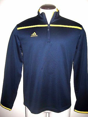 Adidas Mens 1/4 zip Climalite knit textured pullover Navy Blue & Yellow Golf