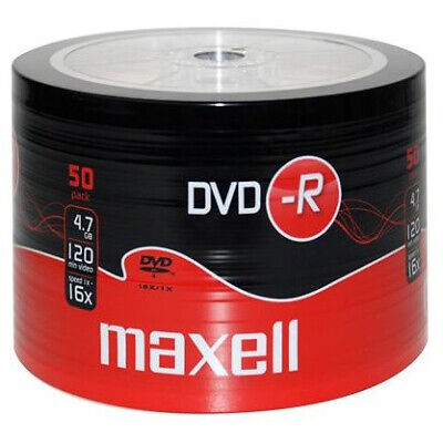 50 Maxell DVD-R 1-16x 4.7gb 16x MAX MATT Gold Top Blank Discs SHRINK PACK