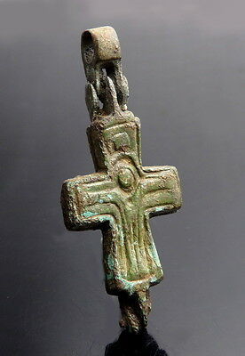 Byzantine Bronze Double Sided Reliquary Cross (L88)