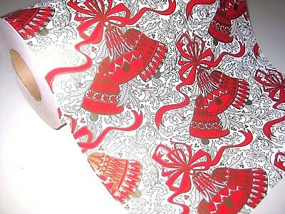 """VINTAGE Heavy ROLL DEPARTMENT STORE CHRISTMAS Bells WRAPPING PAPER 6 LBS 11.75"""""""