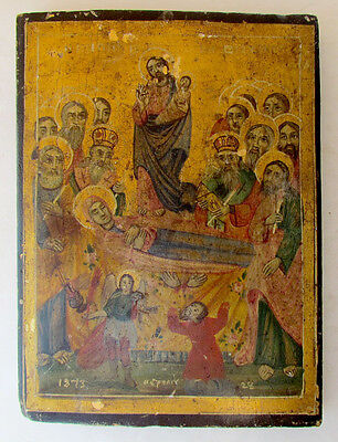 19th CENTURY ANTIQUE GREEK ICON OF DORMITION OF MOTHER OF GOD