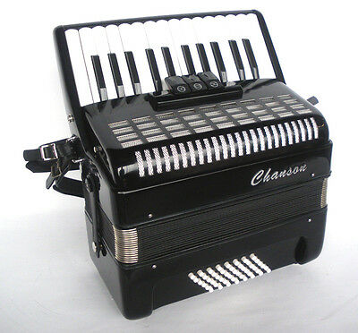 Chanson Accordion In Black, 48 Bass, 2 Sets Of Treble Reeds, 4 Bass, 3 Treble Co