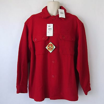 New Boy Scouts Official BSA Mens Red 100% Wool Blend Large Jac Shirt Jacket