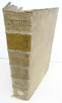 1731 ANTIQUE VELLUM FOLIO of NEW TESTAMENT BIBLE COMMENTARY by A.CALMET w/ MAP