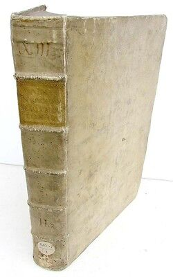 1732 ANTIQUE VELLUM FOLIO of NEW TESTAMENT BIBLE COMMENTARY by A.CALMET in LATIN