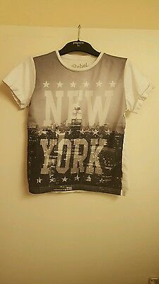 Boys black and white new york T-Shirt by rebel age 9-10
