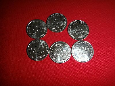 "Set Of 6 Vietnamese Circulated Coins ""200 DONG"" (Two Hundred Piasters) Year 2003"