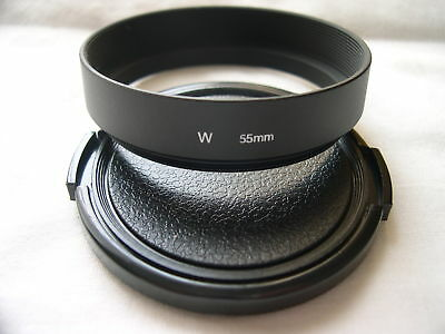 New Metal Wide Angle 55mm Screw-in Lens Hood + Cap