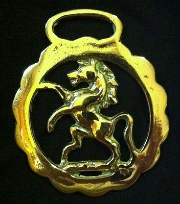 Harness Horse Brass from England Small Delicate PRANCING HORSE Heraldic Torque