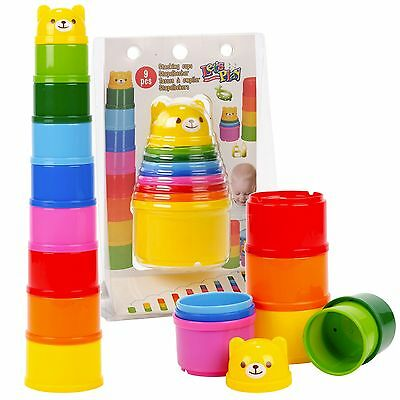 9pc Building Beakers Nesting Cups Stacking Blocks Toddler Baby Bath Toy Teddy
