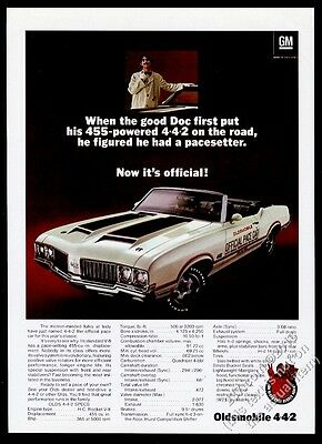 1970 Oldsmobile 442 4-4-2 convertible Indy 500 pace car photo vintage print ad