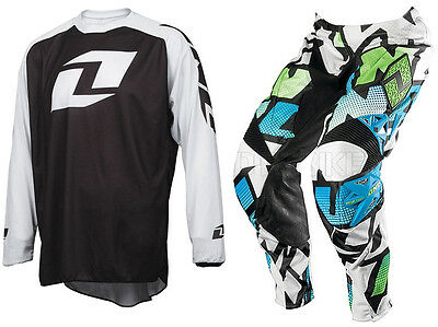 One Industries Motocross Mx Kit Defcon Pant Quasar Cyan + Icon Blk White Jersey