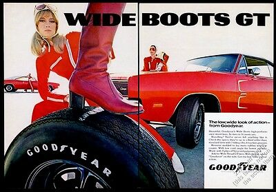 1969 Dodge Charger 426 Hemi red car photo Goodyear tires vintage print ad
