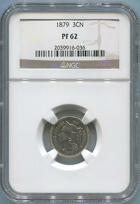 1879 Proof 3 Cent Nickel. NGC PF62