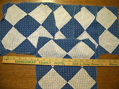 5 Antique Vintage Indigo Feed Sack Cotton Quilt Blocks