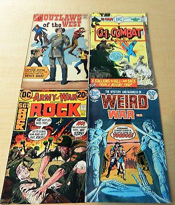 Vintage Lot OF 4 COMICS MAGAZINES FROM 1970'S- Army, War, Combat, Outlaws.